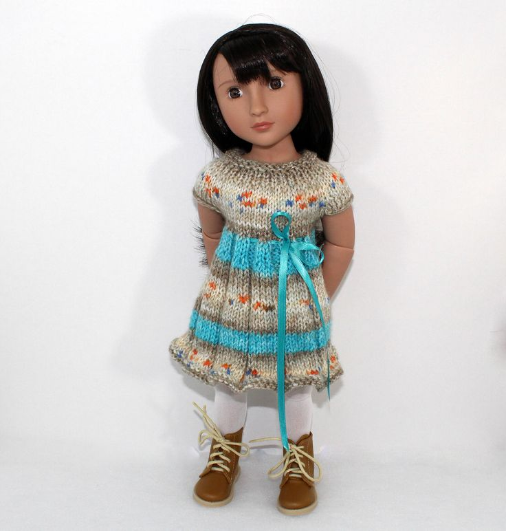 """Knitted dress for A girl for all time doll, Paola Reina Soy Tu doll and other 16"""" dolls. Outfit for doll. by CSKrafdollscloset on Etsy"""