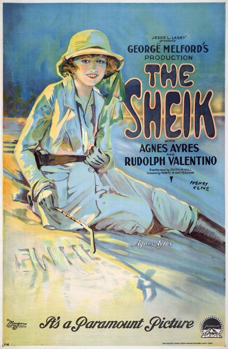 The Sheik is a 1921 American silent romantic drama film produced by Famous Players-Lasky, directed by George Melford, starring Rudolph Valentino and Agnes Ayres, and featuring Adolphe Menjou. https://en.wikipedia.org/wiki/The_Sheik_(film) (fr=Le Cheik)