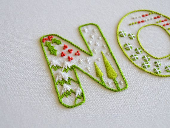 Hand embroidery pattern : Noel festive by KFNeedleworkDesign