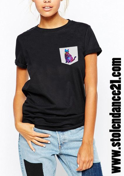 Galaxy Cat Kitten Real Pocket Tee Crew Neck Top T shirt code50469