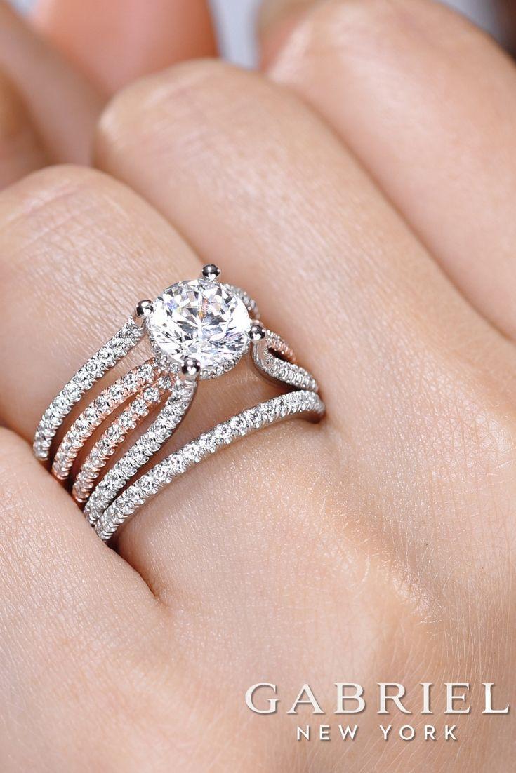 18k White Rose Gold Round Twisted Engagement Ring Wide Band Diamond Rings Wide Band Engagement Ring Wide Engagement Ring