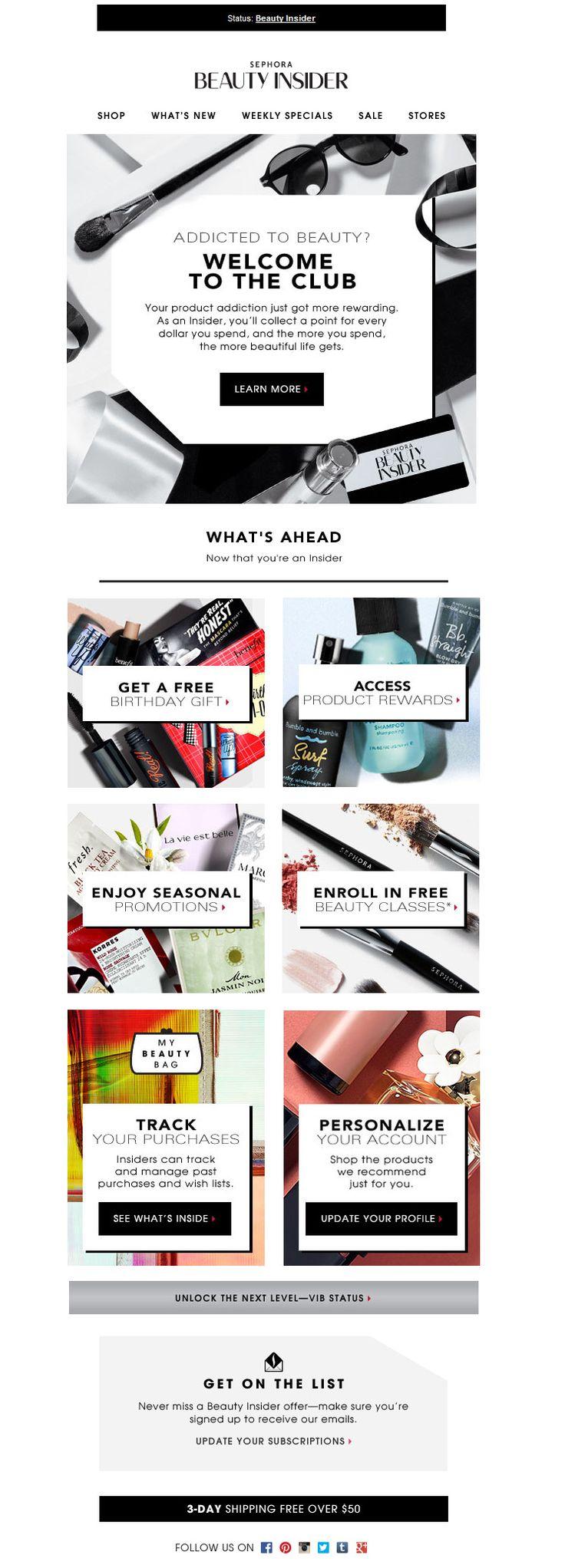 Beauty Insider - Sephora  | welcome | WelcomeEmails | emailmarketing | email | newsletter | welcome newsletter | welcome email | WelcomeEmail | relationship emails | emailDesign