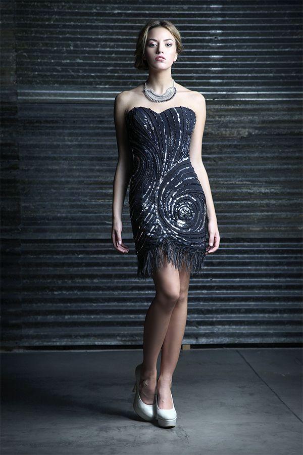 Strapless bordado con piedras y lentejuelas - Stiletto platinum