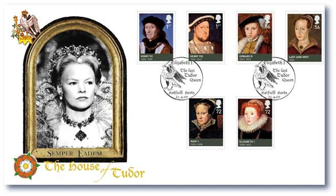 The House of Tudor --postage stamp sheets celebrating British Royal History produced by Buckingam Covers. They feature Royal Mail stamps postmarked on the issue or anniversary date.