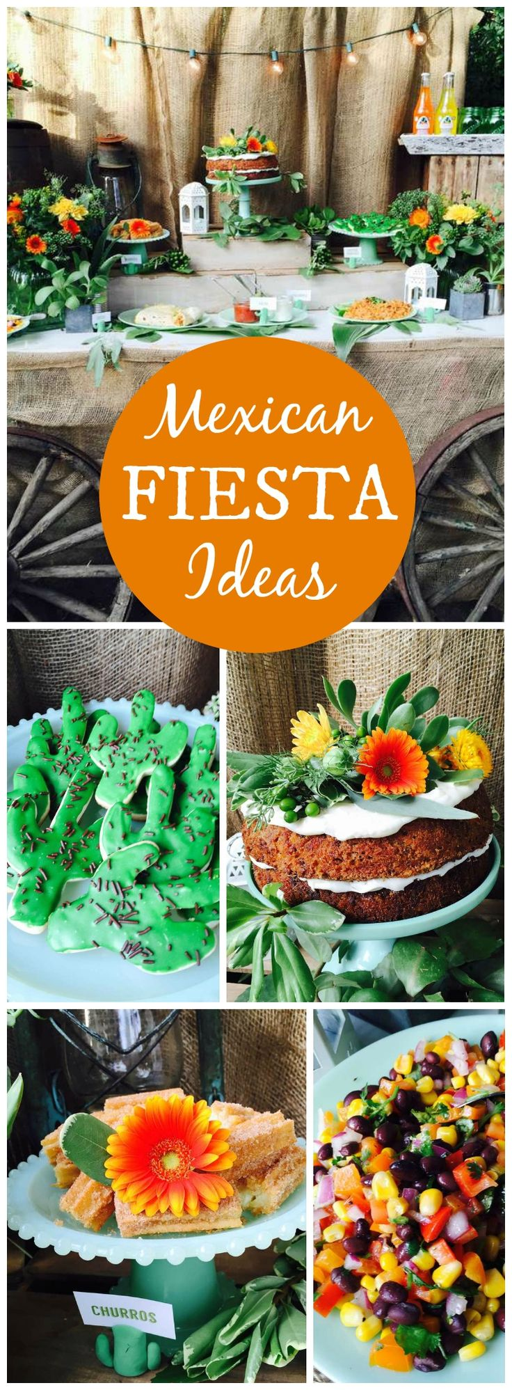 This fiesta has an outdoor taco bar with Mexican soda and margaritas! See more party ideas at CatchMyParty.com!