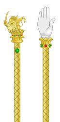 Régalia utilisée pour le couronnement de Napoléon roi d'Italie. Cette main de Justice et le sceptre se trouvent au musée du Risorgimento à Milan.