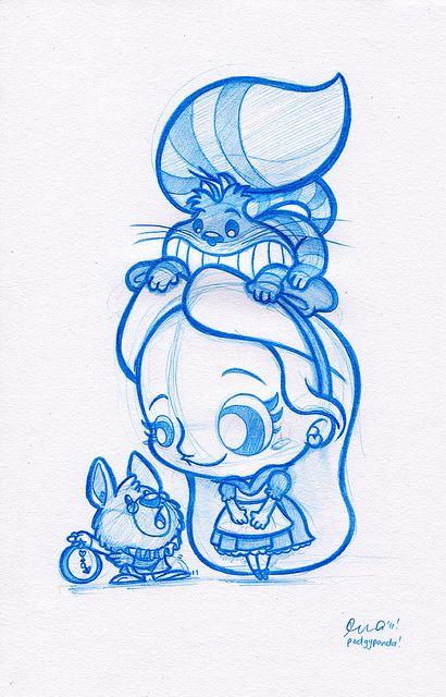 Alice ah pays des merveilles : on voit du e dessin Alice, le lapin blanc et sa fameuse horloge ainsi que le chat que disparaît tout le temps un vrai petit bonheur de dessin
