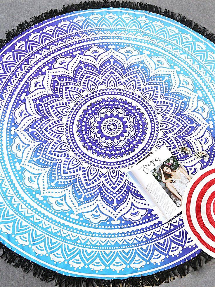 Blue Tribal Print Fringe Trim Round Beach Blanket