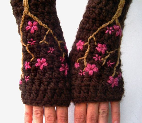 Cherry Blossom Fingerless Gloves  Chocolate Brown and by LoveFuzz, $43.00