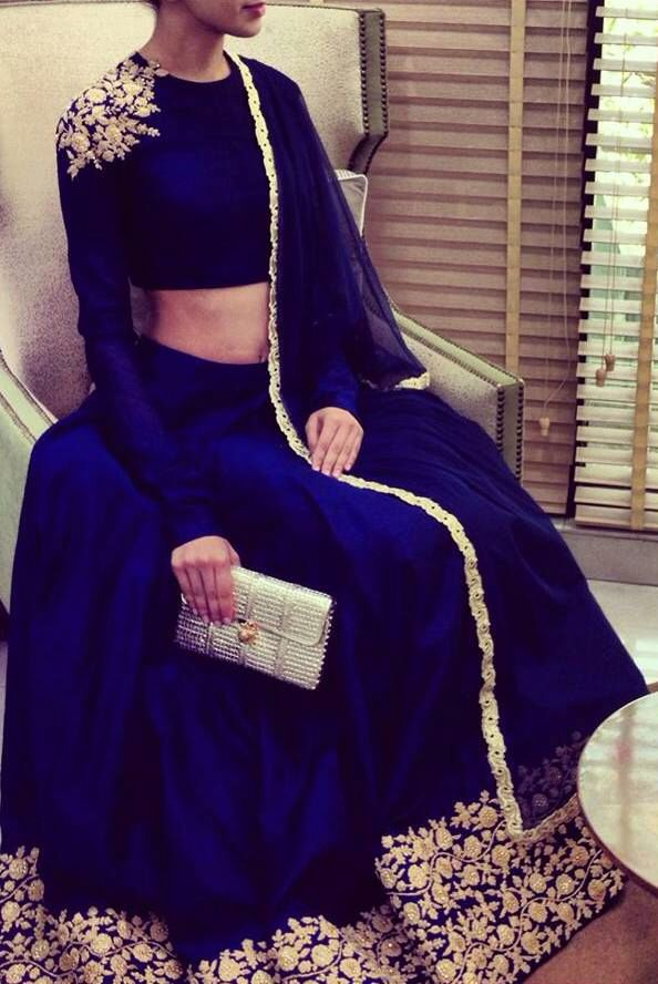 Gorgeous! Royal blue and gold indian lengah | Lengha | Asian wedding