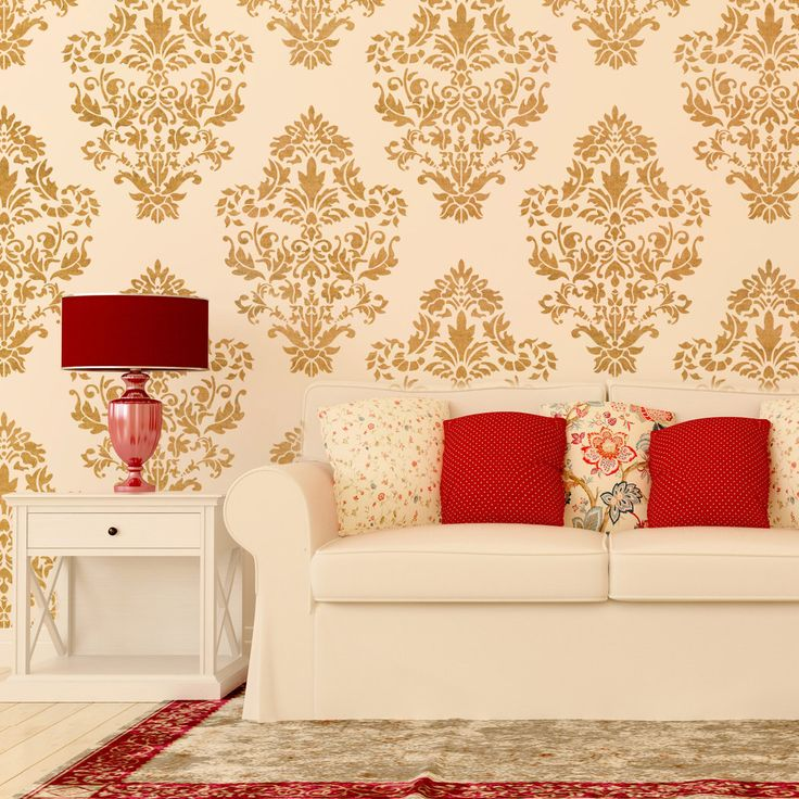 Damask Wall stencil pattern Ludovica for DIY Home decor, Wallpaper Look by JboutiqueStencils on Etsy https://www.etsy.com/listing/204273723/damask-wall-stencil-pattern-ludovica-for
