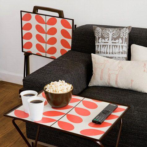 DIY Wallpapered TV Trays at Design*Sponge