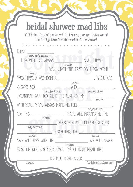 INSTANT UPLOAD Bridal Shower Game Mad Libs  Gray by PaperEtiquette, $5.50