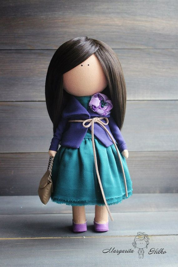 Decor doll handmade brunette green purple by AnnKirillartPlace