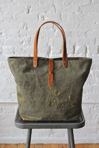 WWII era Hand Painted US Military Canvas Tote Bag - FORESTBOUND