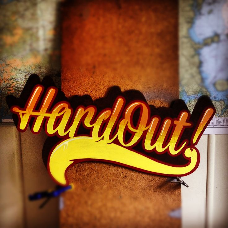 Hardout! Spraypaint on plywood. #signs #typography #handpainted