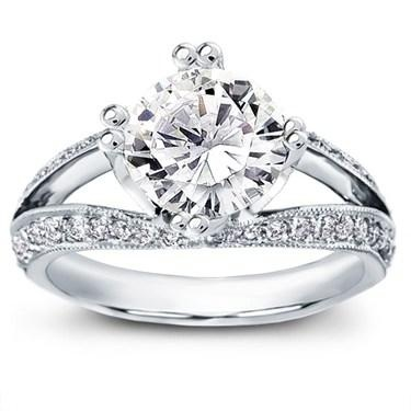 Uniquely Shaped Pave Tulip Engagement Ring