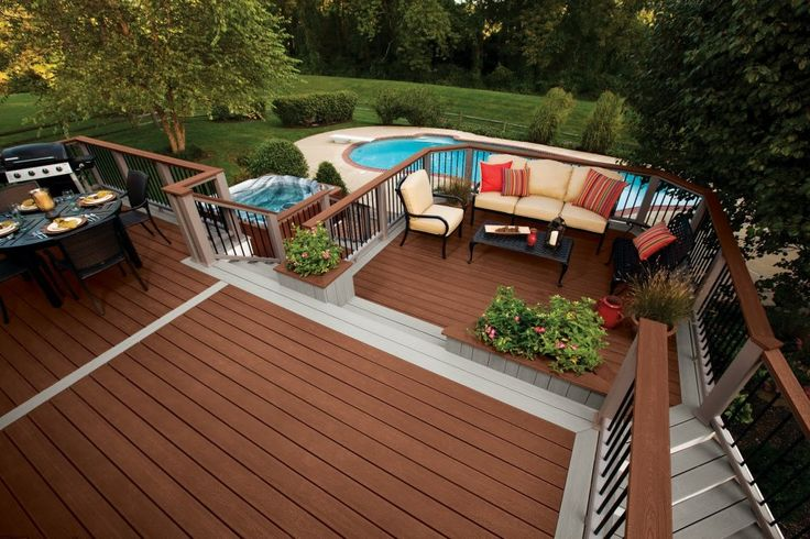 Featured. Brown Wooden Decks for Indoor and Outdoor Design: Appealing Swimming Pool Wooden Deck Trex Area Design With Outdoor Living Space To Inspiration Your Deck Design Ideas ~ wegli