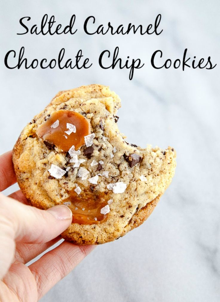 Big chewy chocolate chip cookies with caramel bits and flaky sea salt. Small batch cookie recipe makes 6 cookies @DessertForTwo