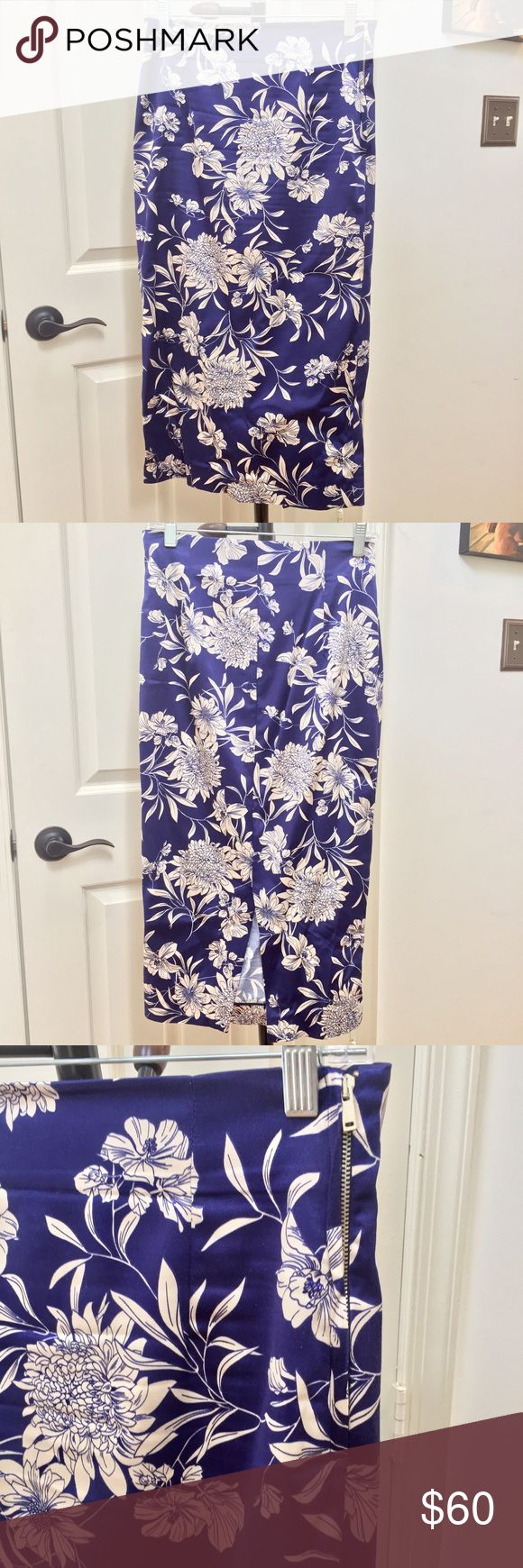 "Zara floral satin midi skirt Purchased in Dubai and worn ONCE! Perfect, like new condition. High waisted, size zip, back slit, darts on back, and this is longer than the typical midi pencil skirt. It hits me at mid-calf and I am 5'8"". Price firm unless bundled. Zara Skirts Midi"