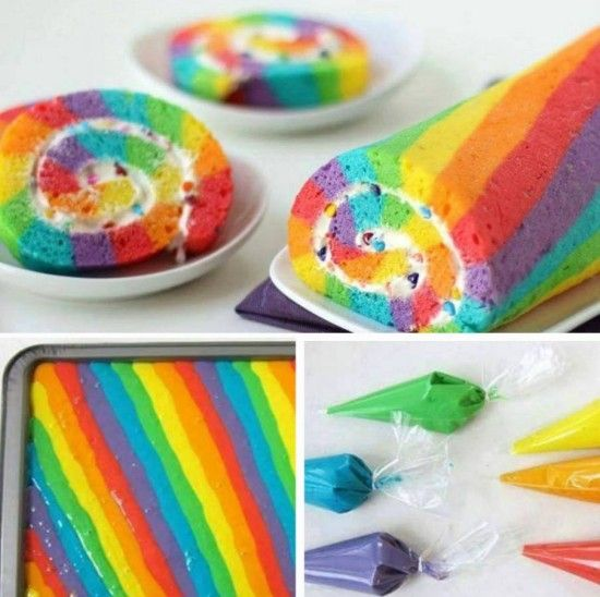 Rainbow Roll Cake Tutorial