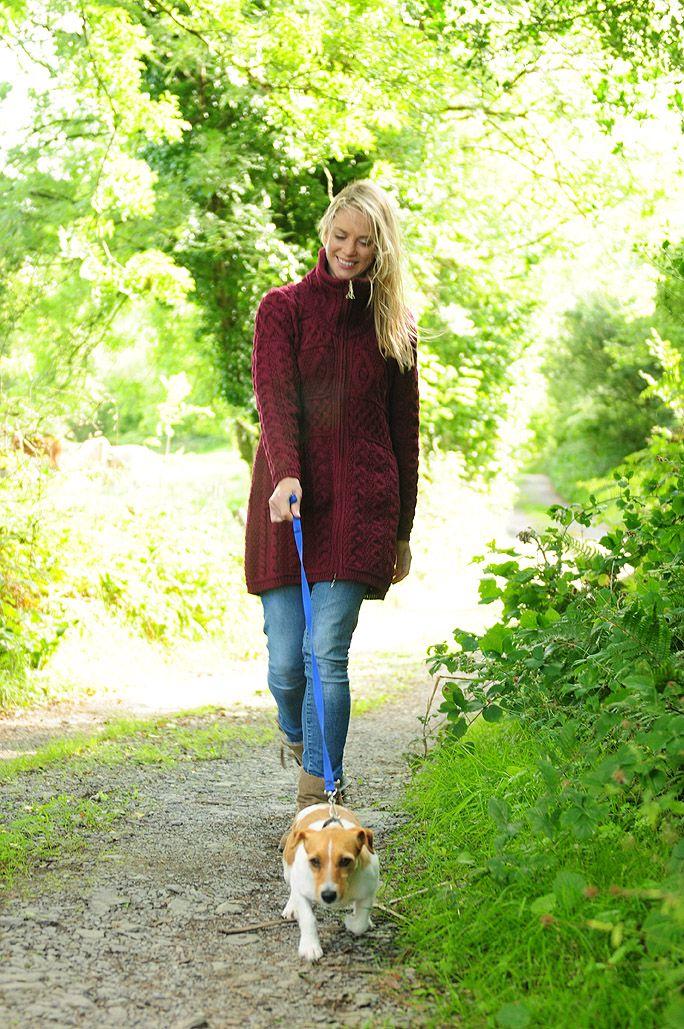 Walk the dogs, a quick stroll wearing a beautiful piece of Aran Knitwear. #leevalleyireland #aranknitwear #irishknitwear