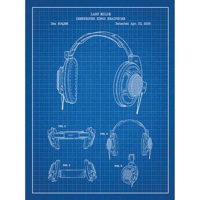 Inked and Screened Music and Audio 'Sennheiser HD800 Headphone' Silk Screen Print Graphic Art in Blue Grid/White Ink