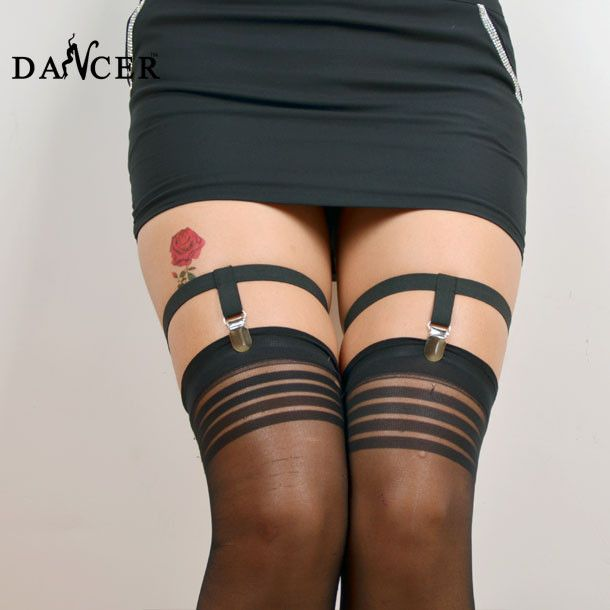 【 $4.12 & Free Shipping / Coupons 】2016 women New Pair Plain Black Leg Garters socks garters | worth buying on AliExpress