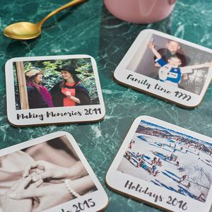Personalised Polaroid Style Drinks Coasters - stocking fillers for her