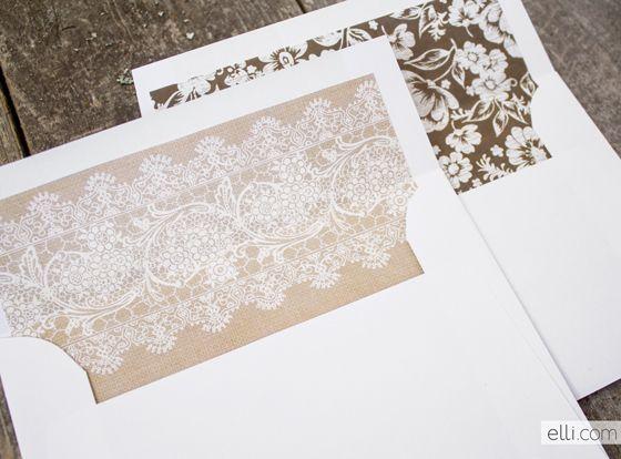 Envelope liners | Free Printable: rustic envelope liners