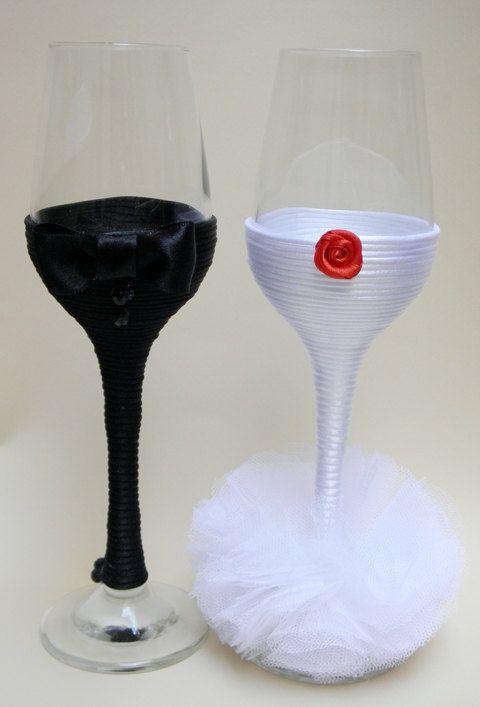 Wedding Champagne Flute Glasses/ Wedding by HANDMADEONLYFORYOU, €33.25