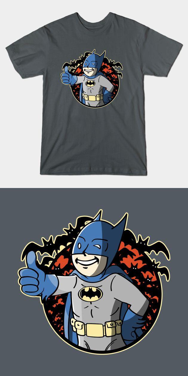 Batman Vault Boy Fallout T Shirt |  I give this mashup a thumbs up! | Visit http://shirtminion.com/2016/02/batman-vault-boy-fallout-t-shirt/