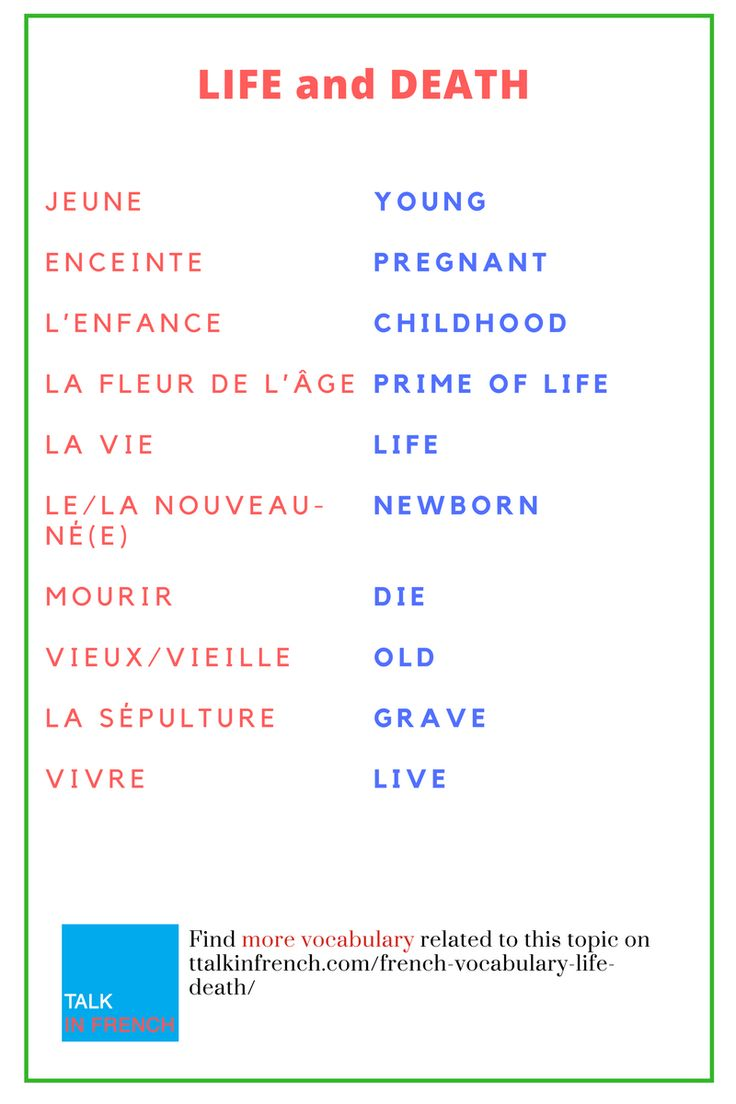 French Vocabulary: Life and Loss of life