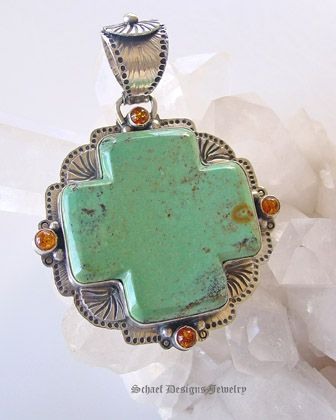 David Troutman turquoise & amber square Cross Pendant | upscale online southwestern native american equine & gemstone jewelry gallery boutique| Schaef Designs artisan handcrafted turquoise & Southwestern Jewelry | New Mexico