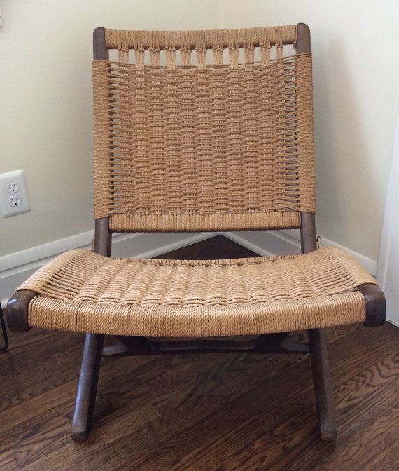 Hans Wegner STYLE Folding Rope Chair  Excellent by danishmaude, $325.00