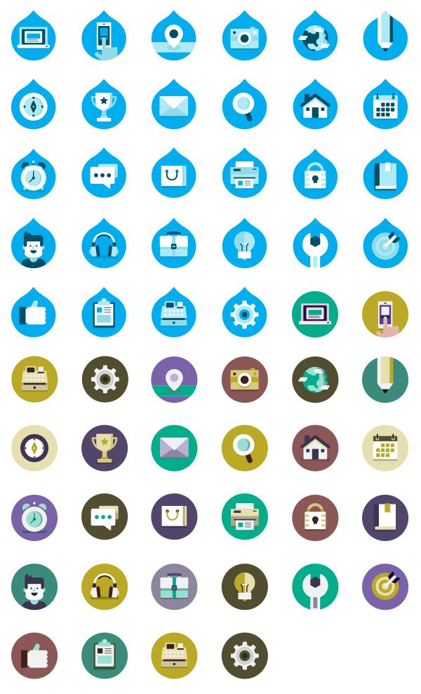 Drupalize.Me Free Icon Package by Justin Harrell in 30 Free Flat Icon Sets for Web Designers