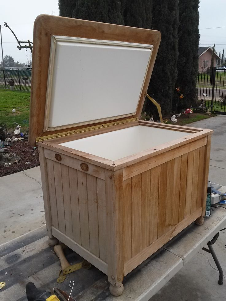 This is a project i'm doing now. This wood cased ice chest was weather beaten. It was found at a yard sale for 10 bucks.