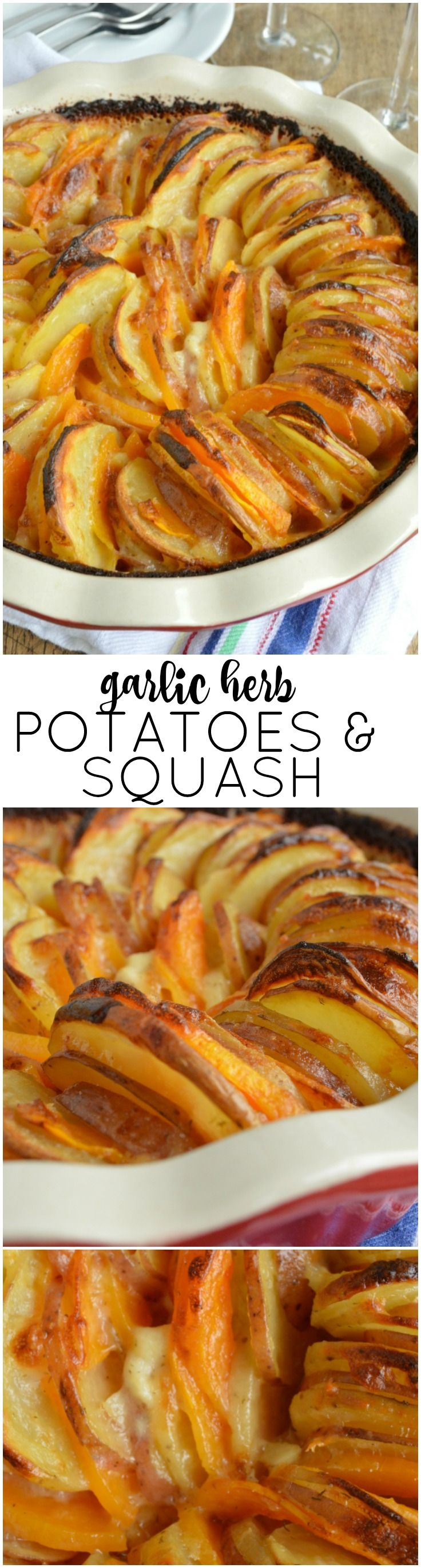 This Garlic Herb Potatoes and Squash Casserole is a great addition to the Thanksgiving table!