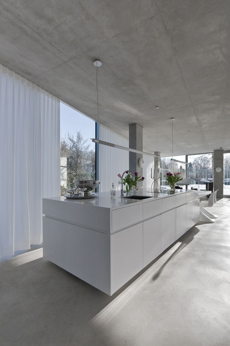 Grey floor White cabinets Floor2Roof windows/sliding doors LOVE the flowy white curtains Add wooden table