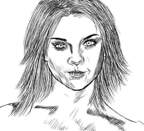 Tentativa de retratar a Natalie Dormer.