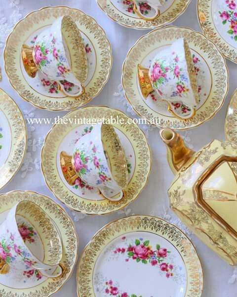 Lemon yellow vintage tea sets