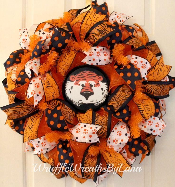 Deco Mesh Auburn Wreath, Auburn Wreath, Fall Wreath, Front Door Wreath, Sports Wreath, Football Wreath by WruffleWreathsbyLana on Etsy