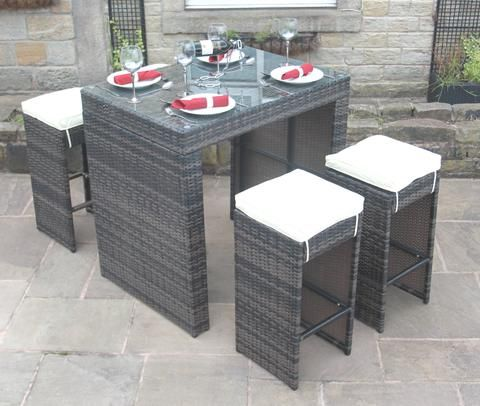 rattan outdoor garden furniture 5 piece bar set brown modern furniture deals - Garden Furniture Deals