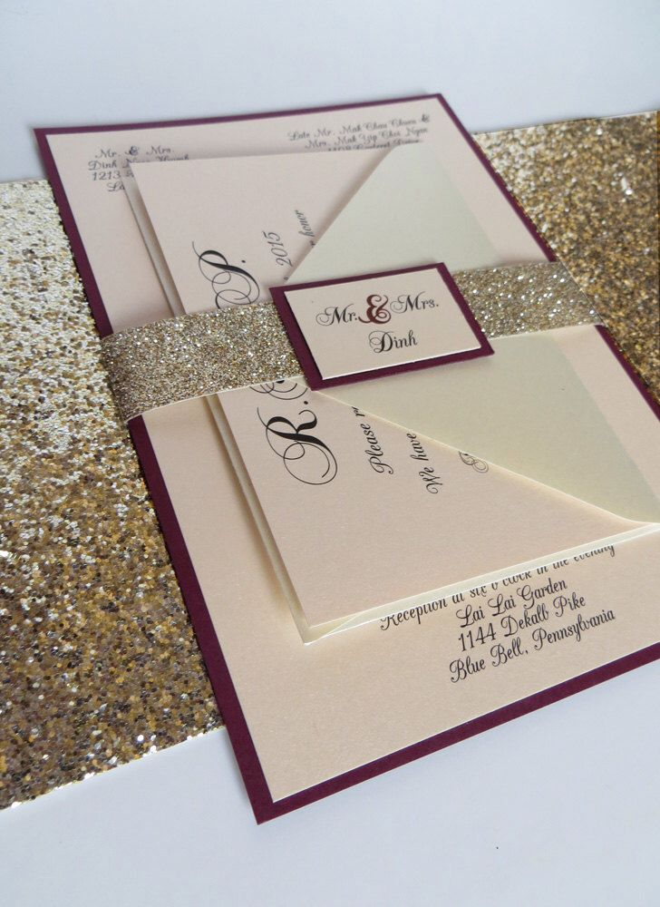Burgundy Wedding Invitation With Glitter Ribbon Belly Band, Burgundy  Invitation, Glitter Wedding Invitation By