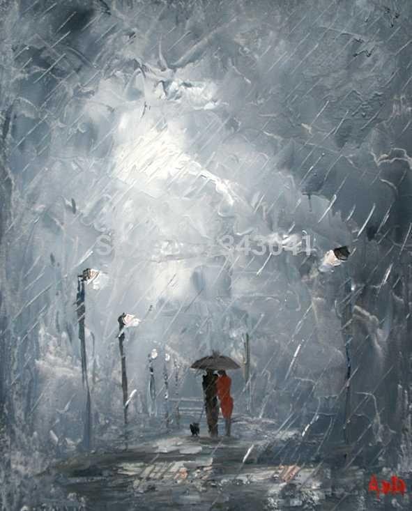 Livraison gratuite origine paysage peinture à l'huile palette couteau Couples en tempête Canvas16 * 20 polegada dans Peinture et calligraphie de Maison & Jardin sur AliExpress.com | Alibaba Group