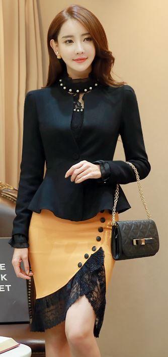 StyleOnme_Lace Hem Button Detail Mermaid Skirt #black #lace #chic #koreanfashion #autumnlook #mustardyellow #skirt