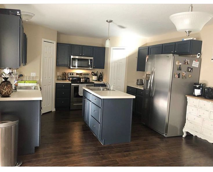 Love the cabinets!! Amazon. Nuvo paint Oxford Blue ...