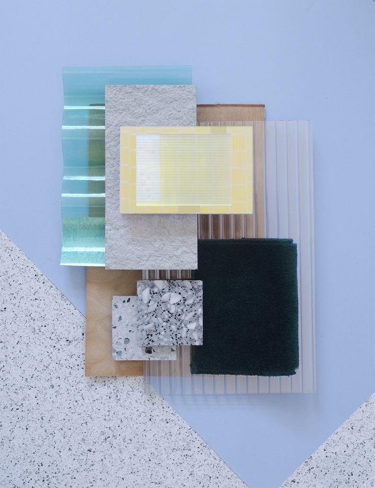 Material Mood for a new retail concept in Asia ~ Veneer & Dichroic Plastic #veneerwood #plexiglass #wacosystems #terrazzo #blue #colors #textures #surfaces #retail #storedesign #architecture #interior #design #material #mood #studiodavidthulstrup