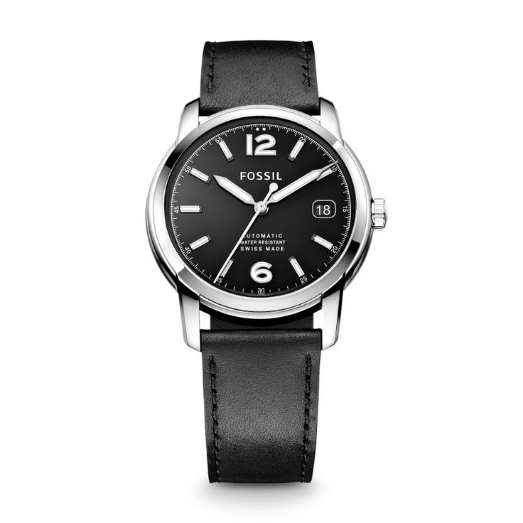 Fossil Swiss Made Automatic Leather Watch - Black FSW1001 | FOSSIL®
