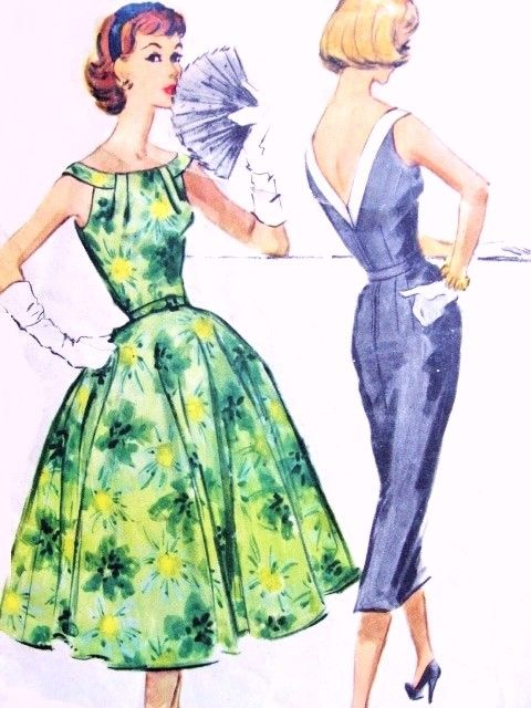 1950s Beautiful Cocktail Party Dress Pattern McCalls 4417 Eye Catching Gathered Neckline Low V Back, Full or Slim Skirt Bust 32 Vintage Sewing Pattern